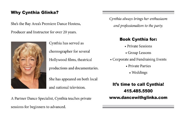 Why choose Cynthia Glinka for Dance Instruction in the San Francisco Bay Area